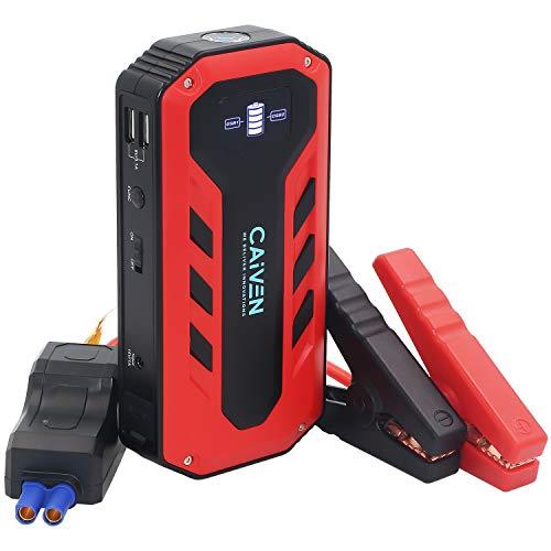 Caiven Auto Starthilfe Powerbank, 600A Spitzstrom, 13600mAh, Tragbare Auto Starthilfe,12V Autobatterie Anlasser, mit Überbrückungskabel Auto und LED Taschenlampe