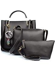 Mammon Women's Handbag with Sling (Set of 3) (3LR-bib-blk_Black)