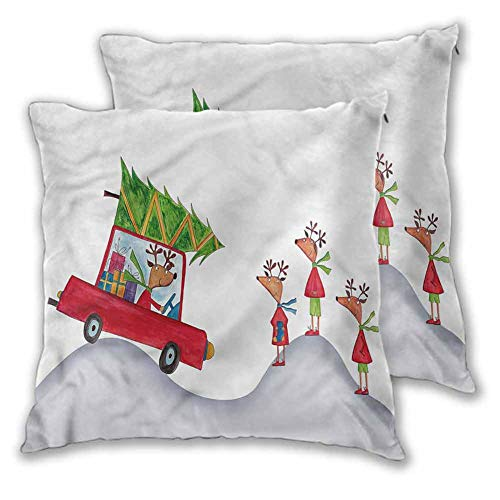 Xlcsomf Christmas Pillowcase Printed, 16 x 16 Inch Reindeer Family Noel Double-sided printing Christmas decoration Set of 2