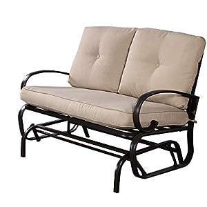 Glider Garden Patio Bench Cushioned Seat 2 Person Furniture Beige-Rocking Chair-Rocking Chair for Nursery-Baby Rocker-Glider Rocker with Ottoman-Glider Rocker-Rocker Recliner