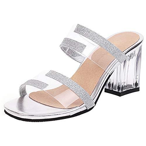 RAZAMAZA Mujer Casual Tacón Ancho Sandalias sin Cordones Transparente Vestido Zapatos de Fiesta Punta Abierta Biller Sandalias Silver Talla 37 Asiática