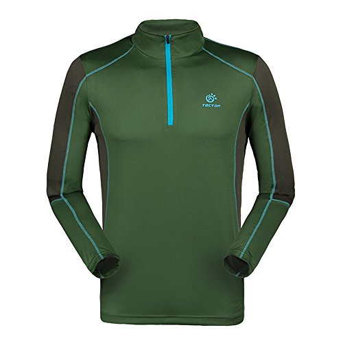 emansmoer Homme 1/4 Zip Manches Longues Pullover Respirante Outdoor Camping Randonnée Course Sport Quick Dry Wicking T-Shirt (XX-Large, Vert)