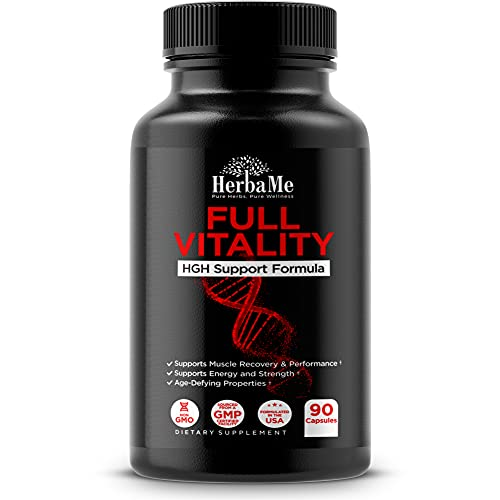 HerbaMe HGH Supplements for Men and Women, 90 Capsules - Naturally Supports Human Growth Hormone, Muscle Building, Muscle Growth Formula, Post Workout Recovery Amino Acid Blend with Colostrum Pills