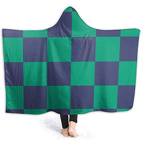 Henry Anthony Grün-blaues Kariertes Muster-Ultra weicher Flanellvlies-Wurfs-Decken-Hoodie für Couchsofa und Bett 50x40 Zoll