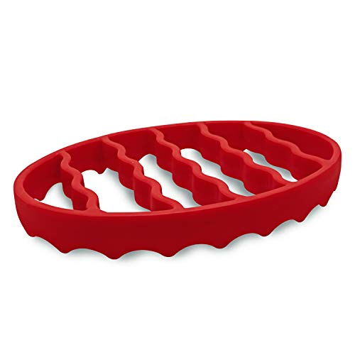 Silicone Roasting Rack, Steamer Rack for Baking Canning Cooking Steaming, Silicone Pressure Cooker Roasting Accessories Compatible with 6-quart and 8-quart cookers (Oval, Red)