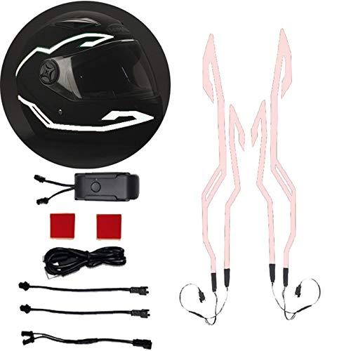 4-in-1 Verbesserte Motorrad Helm Nacht Reiten Kalt Licht Signal Blinkende Streifen LED Leucht Aufkleber Universal Streifen USB Ladegerät (Color : Pink)