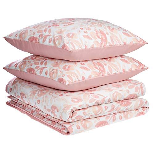AmazonBasics - Juego de fundas de edredón y almohada de microfibra premium (260 x 240 cm / 65 x 65 cm), rosa acuarela