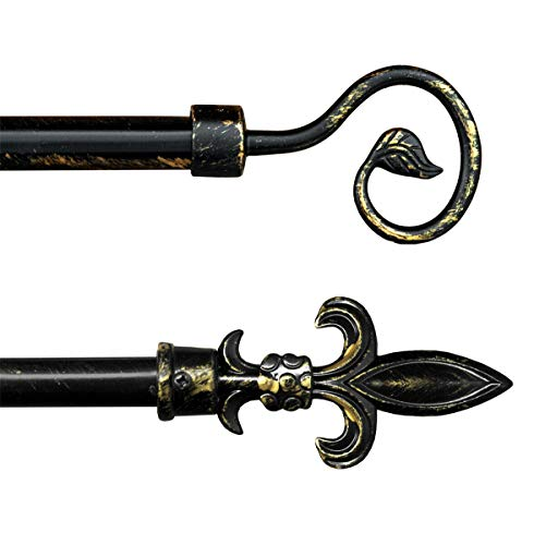 Gardinenstange antik ausziehbar 120-210 cm, Schmiedeeisen, schwarz, gold, 10 Ringe, Modell Gardinenstange antik. Lancia