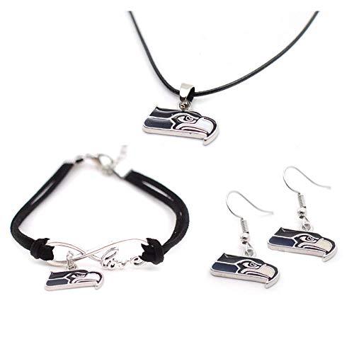 Fit Seattle Seahawks Cord Pendant Necklace Charm Chain Bangle Bracelet Dangle Earring Jewelry Set for Women Men,Sport Fans Must-Have Gift