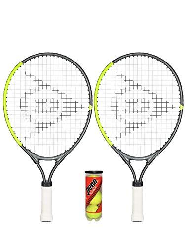 Dunlop 2 raquetas de tenis CV Team Junior (48,2 cm, 53,3 cm y 63,5 cm), incluye funda protectora para cabeza y pelotas (2 x 19 + bolas Penn).