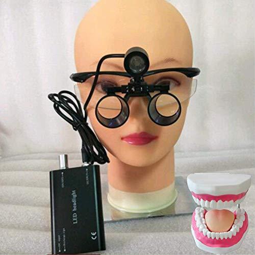 BD.Y Lupa Lupas binoculares quirúrgicas portátiles Vidrio óptico 3.5XR con lámpara de luz LED de Cabeza, Negro