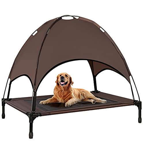 Niubya Outdoor Dog Bed with Canopy, Elevated Dog Bed with Removable Canopy Shade, Outside Portable Cooling Raised Pet Cot for Dogs and Cats, 42 Inches, Brown
