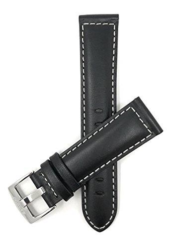 Extra Largo (XL) 22mm Correa reloj de cuero auténtico, Negro, acabado mate, con costuras, hebilla de acero inoxidable, también disponible en marrón, marrón claro et marrón rojizo