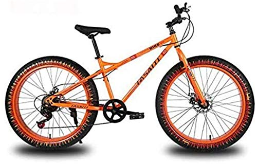HCMNME durable bicycle 26 Inch Mountain Bike for Adults, Dual Disc Brake Fat Tire Mountain Trail Bicycle, Hardtail Mountain Bike, High-Carbon Steel Frame Alloy frame with Disc Brakes