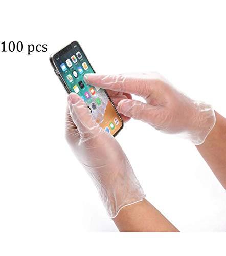 Duurzaam, Wit Poeder Latex-vrije Wegwerphandschoenen PVC Handschoenen Elastische Handschoenen Transparante Keuken For Het Bakken, Schoonheid, Afwassen, Stukken Salon Haarkleur -100 (Size : S)