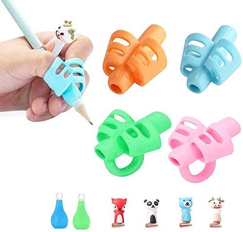 YASQZ - Confezione da 10 impugnature per matite per bambini, per mancini, destrorsi e mancini, in silicone, ergonomiche, per correggere la scrittura e la scrittura