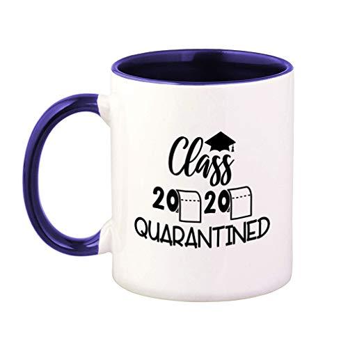 Colorful Coffee Mug Graduation Grad Class of 2020 Quarantined School College Quarantine Social Distancing Quarantine Social Distancing Funny Ceramic Tea Cup 11 Oz Blue Inner Handle