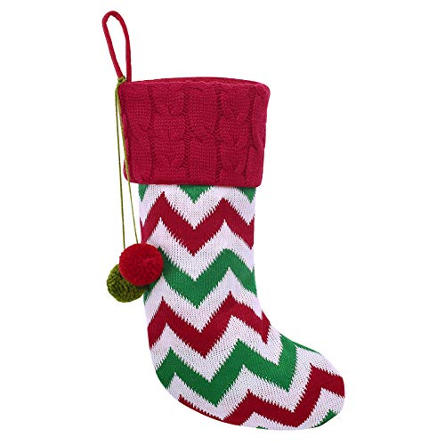 KONVINIT Nikolausstrumpf auf Kamin Stricken Nikolausstiefel zum Befüllen und Aufhängen Groß groß Weihnachsstrumpf Ideale Weihnachtsdekoration 40 * 22cm