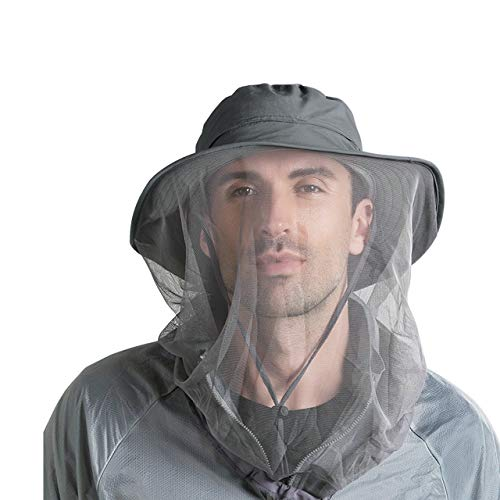 FALETO Outdoor Mosquito Head Net Hat Safari Hat Sun Hat Bucket Hats with Hidden Net Mesh Protection for Men & Women Outdoor,Dark Gray