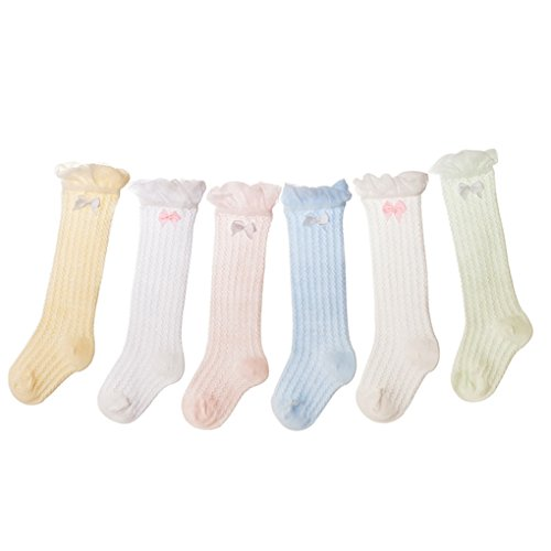 Auxm Calcetines de bebé niña verano, Calcetines largos para bebés Calcetines largos para niños Calcetines altos para niña Calcetines de malla 6 pares para 0-3 años (S/0-1 Y)
