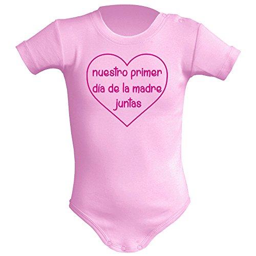 Body bebé unisex Día de la madre. Regalo original. Body bebé divertido. Manga corta. (Rosa, 3 meses)