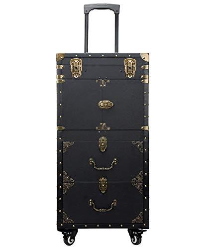 Maquillage rétro coiffure Vanity Case cosmétiques Beauty Box Chariot Case Black