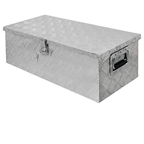 ECD Germany Caja de Aluminio Multiusos 76,5 x 33,5 x 24,5 cm Resistente a la Corrosión con Sistema de Cierre de Almacenamiento de Herramientas Maletín Seguridad y Transporte fácil Montaje en Camión
