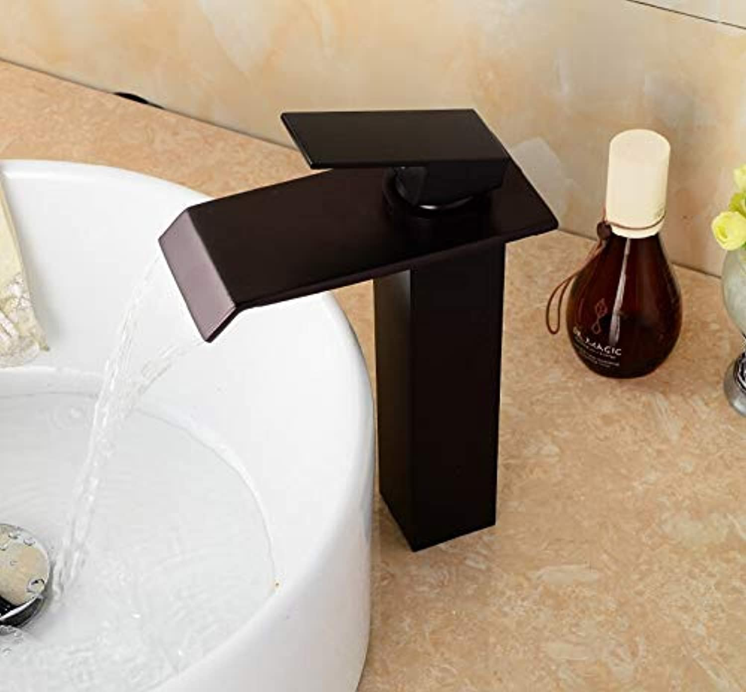 Oil Rubbing Bronze Bathroom Faucet, High Square Black Basin Faucet, Single Pole Single Hole Waterfall Faucet