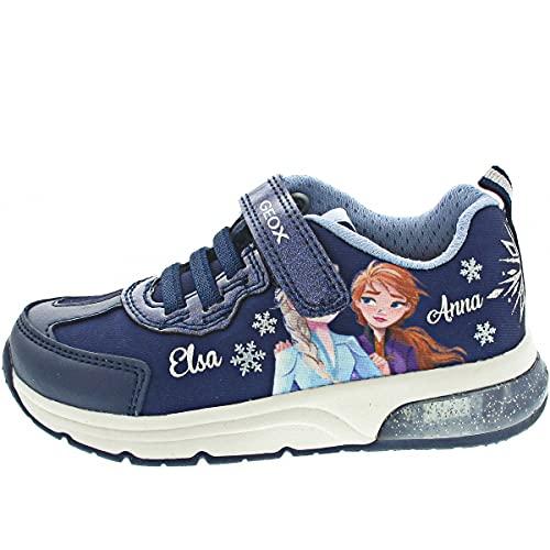 Geox Spaceblub - Zapatillas de deporte para niña, con inserciones sueltas, luz intermitente, color Azul, talla 24 EU