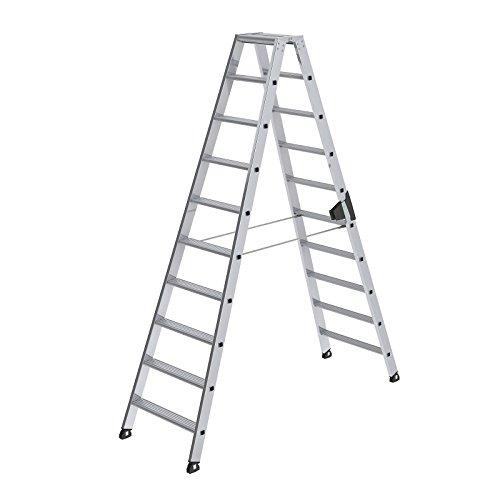 GÜNZBURGER aluminium staande ladder, aan beide zijden, 2 x 10 treden,