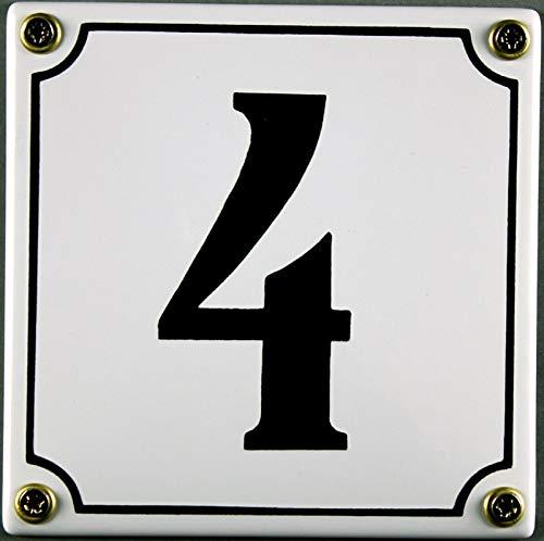 5 Wei/ß-SchwarzHandarbeit mit Schrauben und D/übel zur Montage Hausnummer Emaille Schild Nr