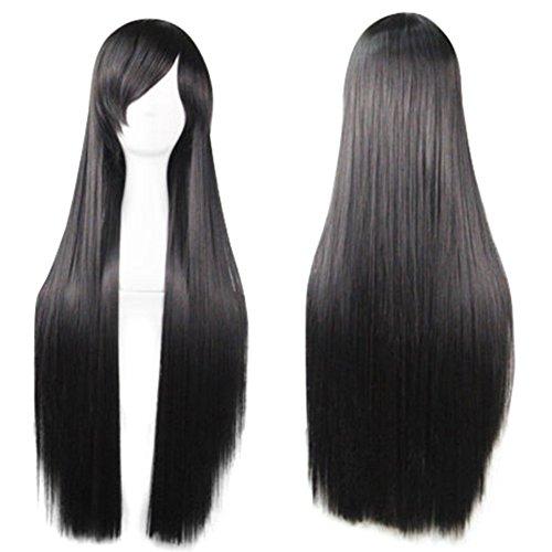 Gemini _ Mall da donna dritto parrucca 68,6cm capelli lunghi neri parrucca piena signora elegante party Daily Dress