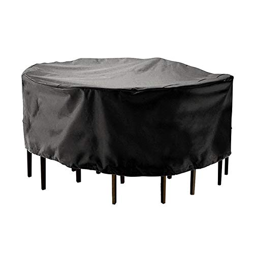ALGFree Tables and Chairs Protector, Round Garden Furniture Covers Waterproof Tarpaulin Dust-Proof Indoor Outdoor, Customizable Size (Color : Black, Size : 190x80cm)