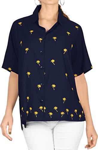 LA LEELA Bluzka hawajska   damska tunika   krótki rękaw   bluzka na imprezę plażową   lato na co dzień   duży rozmiar   luźna Aloha  XS - 3XL   jedwab 05   Jednolity jednokolorowy