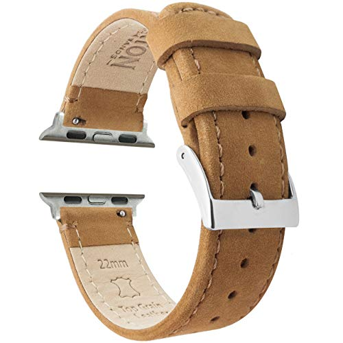 42mm/44mm Gingerbread Brown - Barton Top Grain Leather Watch Bands Compatible with All Apple Watch Models