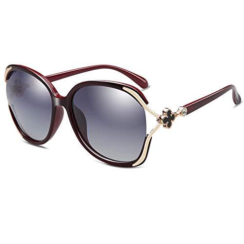 Gafas de sol para mujer, polarizadas, antivioleta, modernas, redondas, clásicas, grandes lentes, color negro, morado, rojo, leopardo, rosa, marrón (color: rojo)