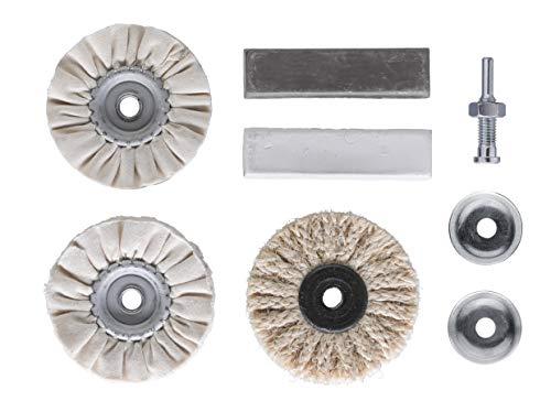 kwb Polier-Satz – 6-tlg. inkl. Polierpaste sowie Aufspanndorn, für Felgen und Auto, Bohrmaschinen und Akku-Bohrmaschinen geeignet, Holz und Metall