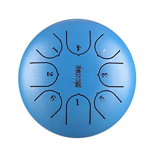 Dyna-Living Handpan, 6 Zoll 8-Ton G-Schlüssel Stahlzungentrommel Schlagzeug Trommel Hand E Drum mit Schlägel Tragetasche Fingerschutz für Kinder Musikalische Bildung (Blau)