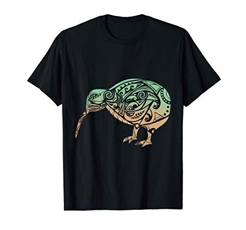 Polynesien Maori Kiwi Vogel Grün Orange Neuseeland Geschenk T-Shirt