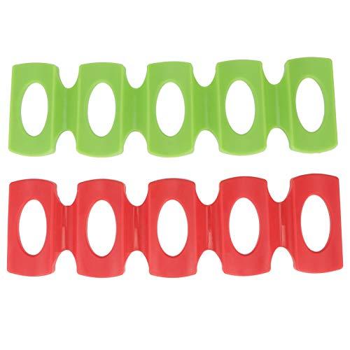 Jershal Soporte para Botellas Apilador de Botellas de Silicona de 2 Piezas para latas de Cerveza, Soporte para Vino, tapete para refrigerador (Rojo + Verde)