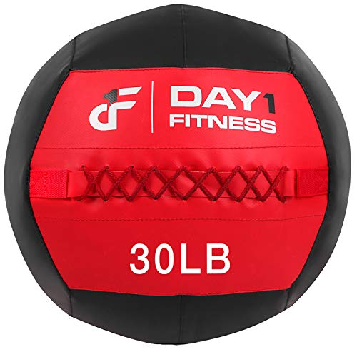 Day 1 Fitness Soft Wall Medicine Ball 30 Pounds RED/BLACK - for Exercise, Rehab, Core Strength, Large Durable Balls for Floor Exercises, Stretching