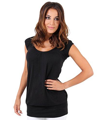 KRISP Haut Femme Sexy Chic Top Ample Grande Taille Fluide T Shirt Large Long Pas Cher Vêtement Mode, Noir (7604), 38 EU (10 UK)
