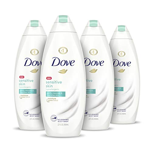 Dove Body Wash Hypoallergenic and Sulfate Free Sensitive Skin Effectively Washes Away Bacteria While Nourishing Your Skin 22 oz, 4 Count