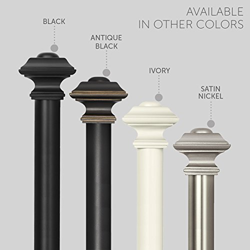 Ivilon Window Treatment Curtain Rod - Square Finials, 1 1/8 in Rod, 48 to 86 Inch, Antique Black