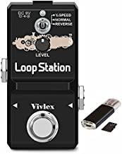 Vivlex LN-332AS Looper Loop Station Guitar Pedal Mini Loop Recording for Electric Guitar & Bass with 1GB Memory Card, 10 Minutes of Looping, Unlimited Overdubs, ½SPEED, NORMAL and REVERSE Mode
