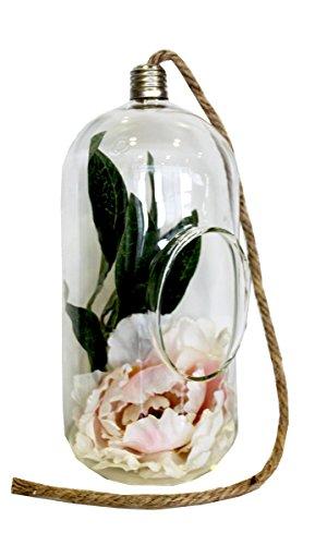 Keyhome Portacandela in Vetro a Forma di Lampadina con Corda per Appendere - Altezza cm 28