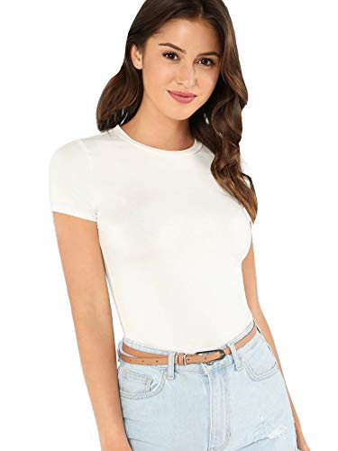 SheIn Women's Solid Basic Tee Round Neck Short Sleeve Slim Fit T-Shirt Tops Large White