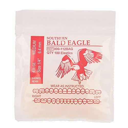 American Orthodontics Elastics Wildlife Eagle   Medium, 4.5 Oz, 1/4' Size, 100 Packs Per Box, 10,000 Elastics   Made in The USA   Exacting Dimensions, Precision Cutting, Top Quality Latex Tubing