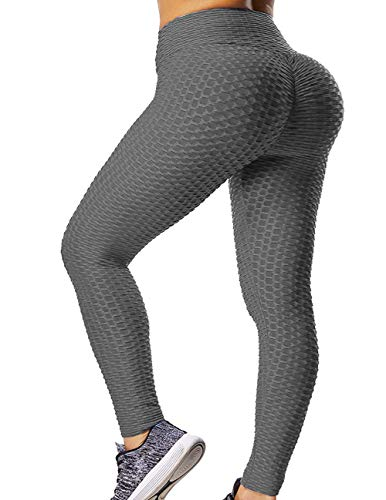 GILLYA Booty Yoga Pants Women High Waisted Ruched Butt Lift Textured Tummy Control Scrunch Leggings Black, Medium