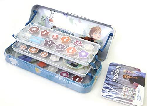 Frozen II Triple Layer Beauty Tin - Set de Maquillaje para Niñas - Maquillaje Frozen - Selección de Productos Seguros en una Caja de Lata de Maquillaje con 3 Pisos